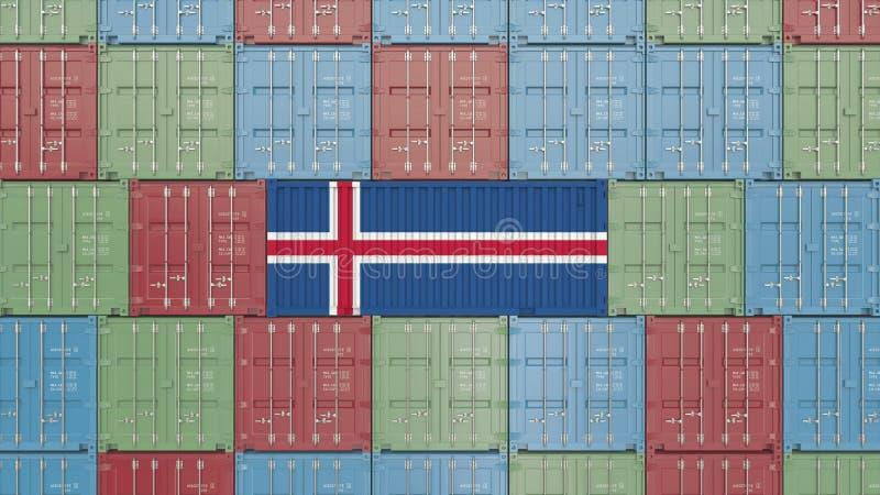 Contenitore di carico con la bandiera dell'Islanda Rappresentazione relativa islandese 3D dell'esportazione o dell'importazione illustrazione di stock