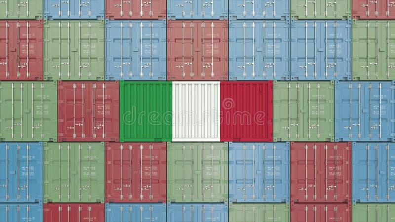 Contenitore di carico con la bandiera dell'Italia Rappresentazione relativa italiana 3D dell'esportazione o dell'importazione illustrazione vettoriale