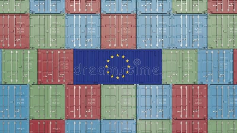 Contenitore di carico con la bandiera dell'UE Rappresentazione relativa 3D dell'importazione o dell'esportazione dell'Unione Euro royalty illustrazione gratis
