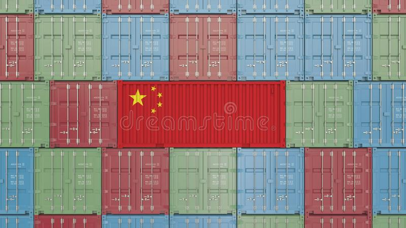 Contenitore di carico con la bandiera della Cina Rappresentazione relativa cinese 3D dell'esportazione o dell'importazione illustrazione di stock
