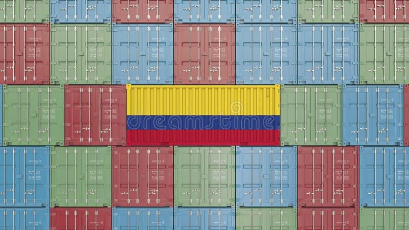 Contenitore di carico con la bandiera della Colombia Rappresentazione relativa colombiana 3D dell'esportazione o dell'importazion illustrazione vettoriale
