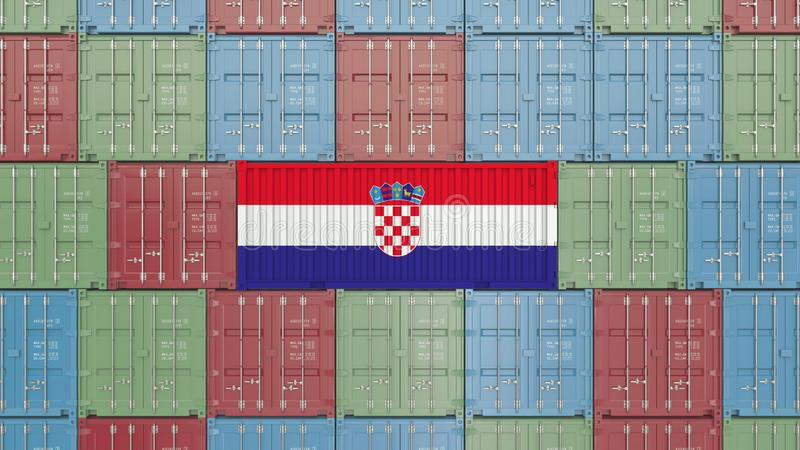 Contenitore di carico con la bandiera della Croazia Rappresentazione relativa croata 3D dell'esportazione o dell'importazione royalty illustrazione gratis