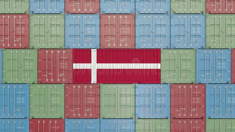 Contenitore di carico con la bandiera della Danimarca Rappresentazione relativa danese 3D dell'esportazione o dell'importazione royalty illustrazione gratis