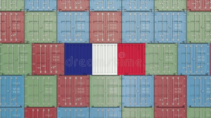 Contenitore di carico con la bandiera della Francia I francesi importano o esportano la rappresentazione relativa 3D royalty illustrazione gratis