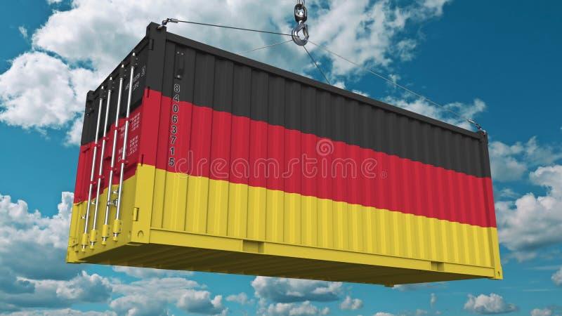 Contenitore di carico con la bandiera della Germania L'importazione o l'esportazione tedesca ha collegato la rappresentazione con illustrazione di stock