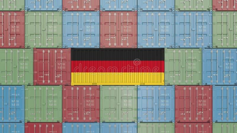 Contenitore di carico con la bandiera della Germania Rappresentazione relativa tedesca 3D dell'esportazione o dell'importazione royalty illustrazione gratis