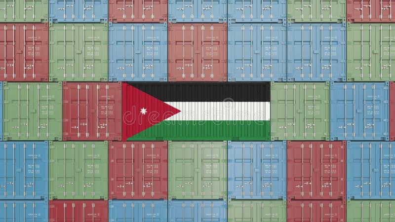 Contenitore di carico con la bandiera della Giordania Rappresentazione relativa giordana 3D dell'esportazione o dell'importazione illustrazione di stock
