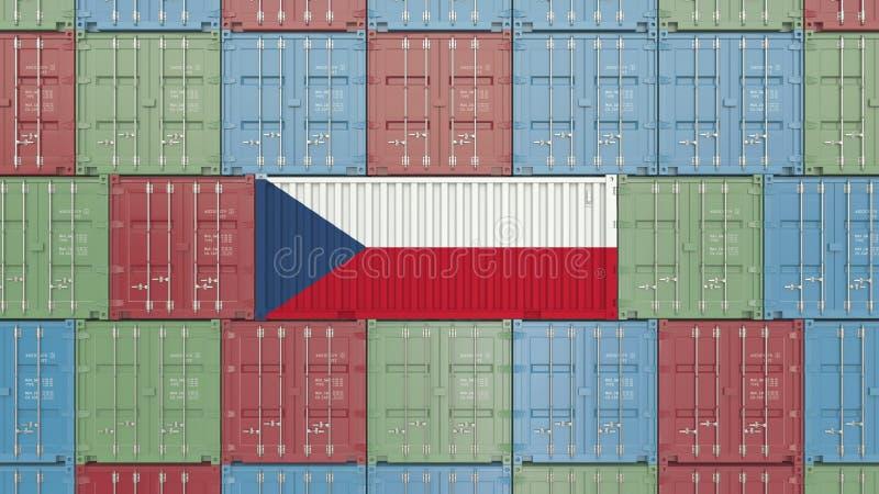 Contenitore di carico con la bandiera della repubblica Ceca Rappresentazione relativa 3D dell'esportazione o dell'importazione illustrazione di stock