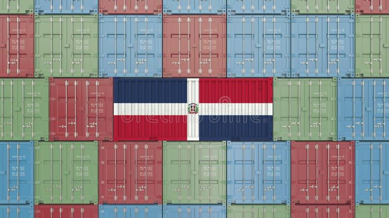 Contenitore di carico con la bandiera della Repubblica dominicana Rappresentazione relativa 3D dell'esportazione o dell'importazi illustrazione di stock