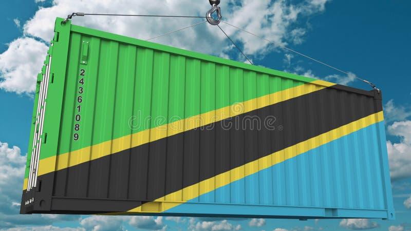 Contenitore di carico con la bandiera della Tanzania L'importazione o l'esportazione tanzaniana ha collegato la rappresentazione  immagine stock libera da diritti