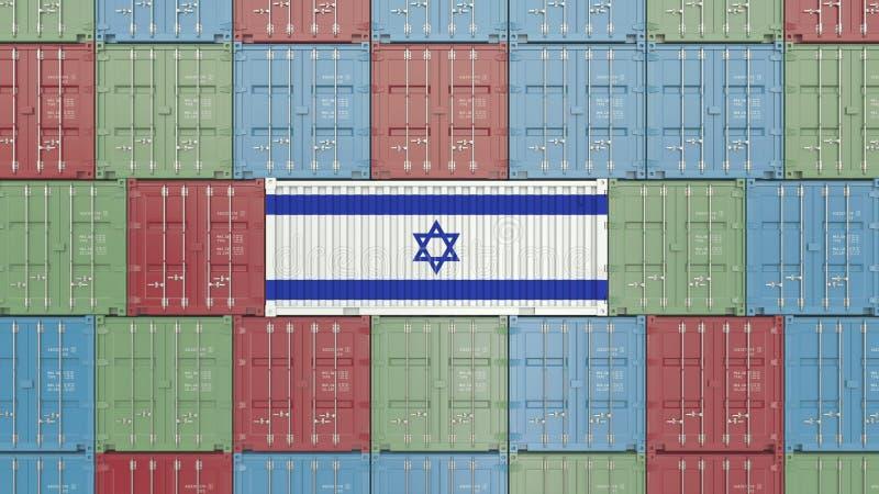 Contenitore di carico con la bandiera di Israele Rappresentazione relativa israeliana 3D dell'esportazione o dell'importazione illustrazione di stock