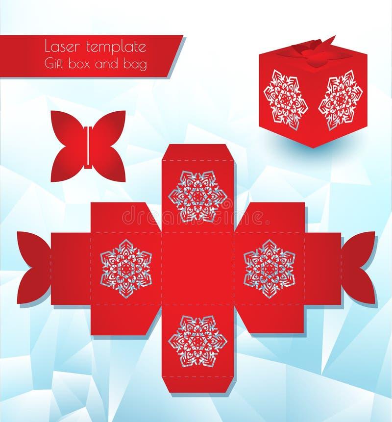 Contenitore di carta del modello del laser per un regalo Imballaggio di congratulazioni per al minuto Modello di taglio Openwork  illustrazione vettoriale