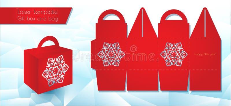 Contenitore di carta del modello del laser per un regalo Imballaggio di congratulazioni per al minuto Modello di taglio Openwork  royalty illustrazione gratis