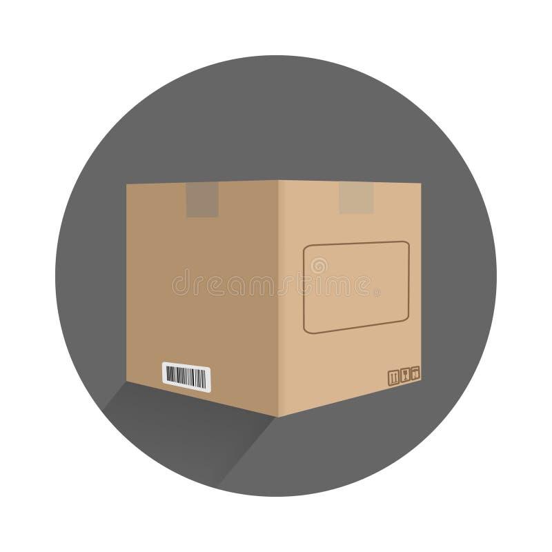 contenitore di cartone nella progettazione piana con i segni illustrazione di stock