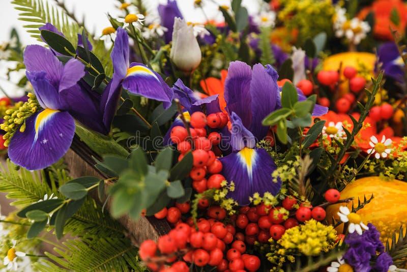 Contenitore di fiore di autunno con i maccheroni su fondo bianco immagini stock