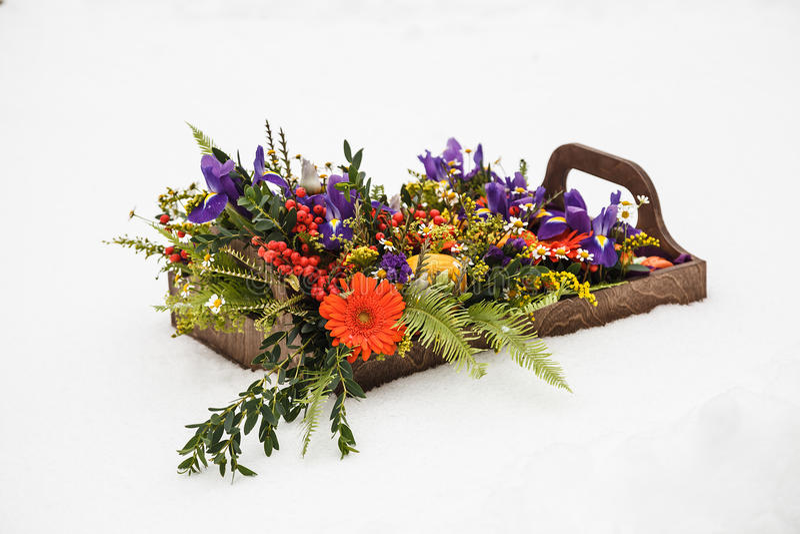 Contenitore di fiore di autunno con i maccheroni su fondo bianco fotografie stock