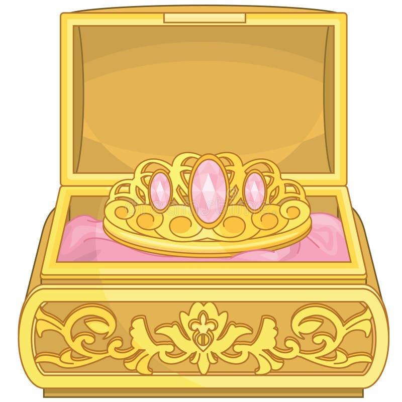 Contenitore di gioielli con principessa Accessories degli elementi di fiaba del diadema illustrazione di stock