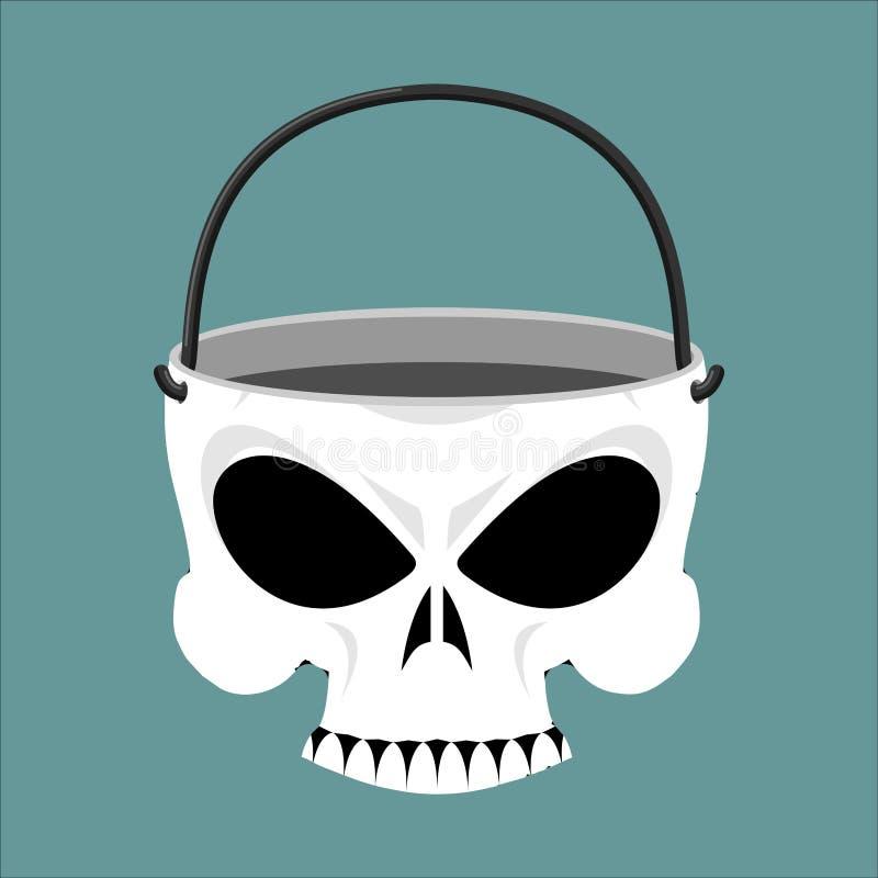 Contenitore di gioielli del cranio Canestro di scheletro Gioielli terribili del pirata illustrazione di stock