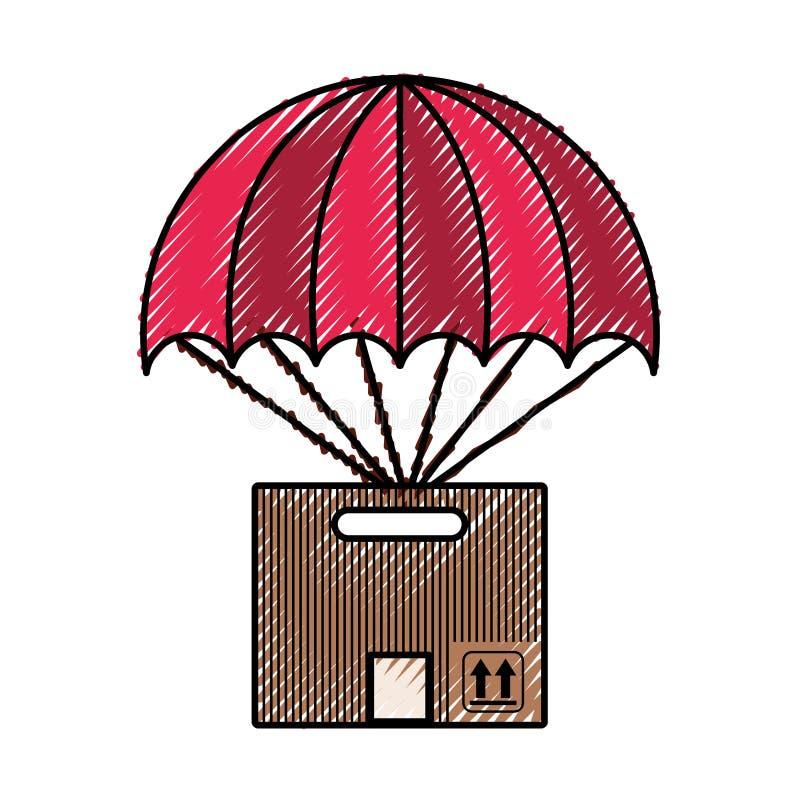 Contenitore di imballaggio del cartone con l'icona del paracadute illustrazione vettoriale