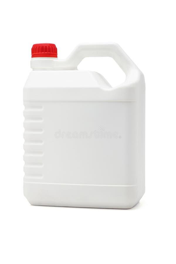 Contenitore di plastica bianco dell'olio di lubrificazione fotografia stock