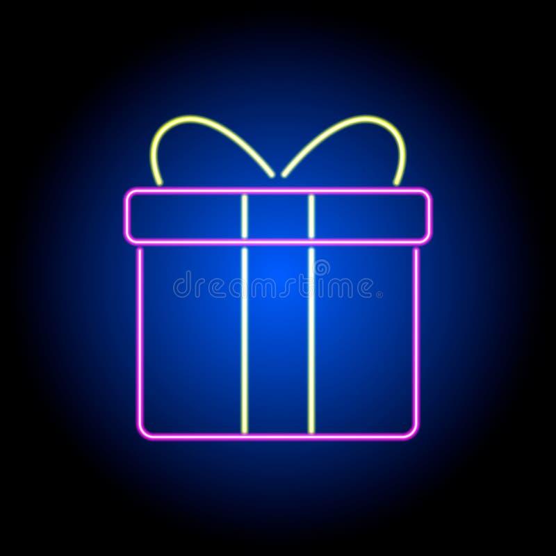 Contenitore di regalo al neon di vettore su un fondo nero illustrazione di stock