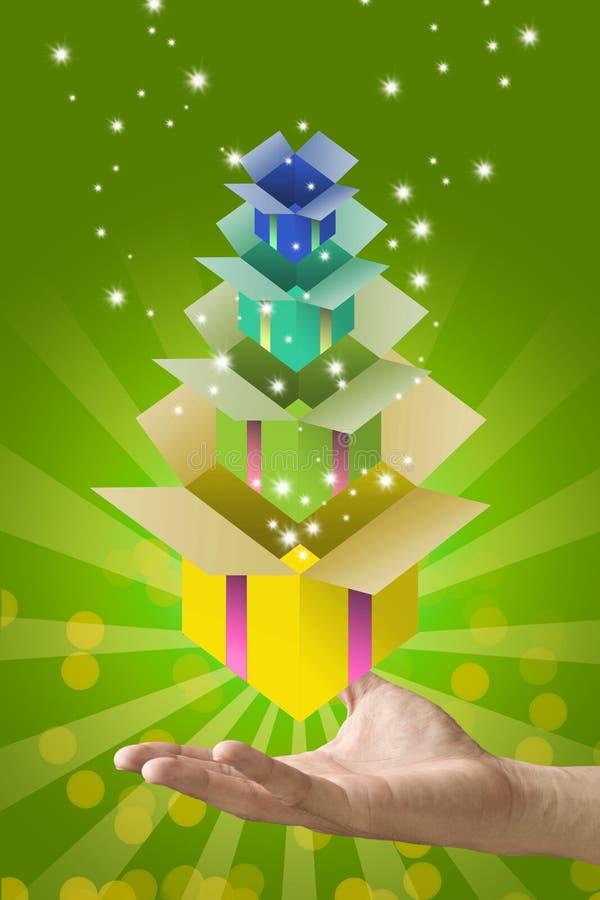 Contenitore di regalo all'interno del contenitore di regalo sulla mano, concetto del regalo royalty illustrazione gratis