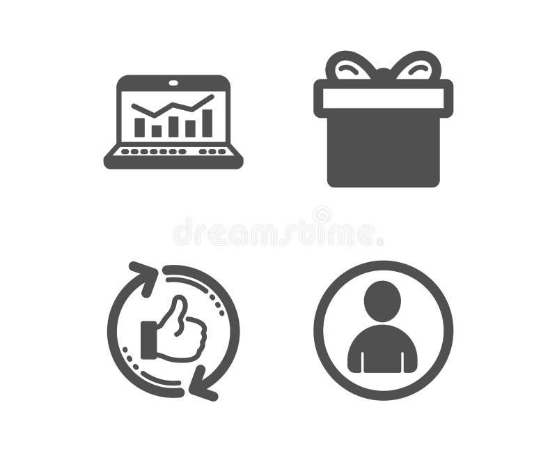 Contenitore di regalo, analisi dei dati di web e rinfrescare come le icone Segno dell'avatar Pacchetto attuale, statistiche, poll royalty illustrazione gratis