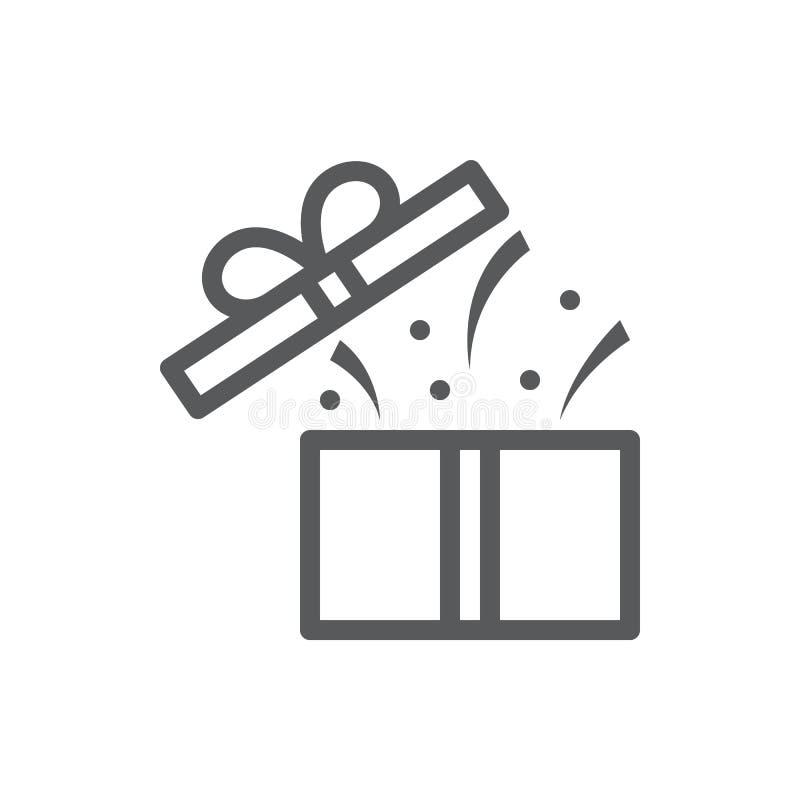 Contenitore di regalo aperto con i coriandoli e copertura volante - concetto di sorpresa in linea sottile perfetta icona del pixe royalty illustrazione gratis