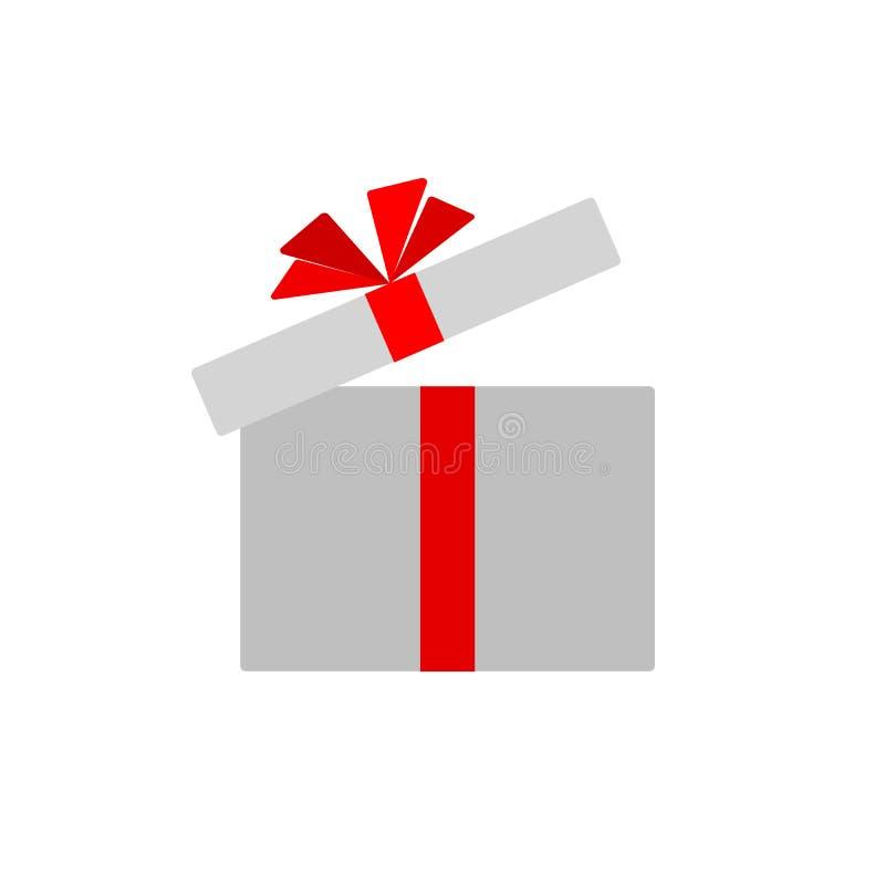 Contenitore di regalo aperto con l'arco rosso del nastro Isolato sull'elemento piano semplice di progettazione dell'icona del con royalty illustrazione gratis
