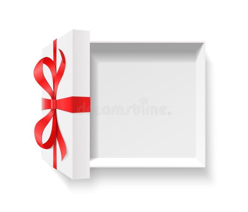 Contenitore di regalo aperto vuoto con il nodo dell'arco di colore rosso e nastro isolato su fondo bianco illustrazione vettoriale