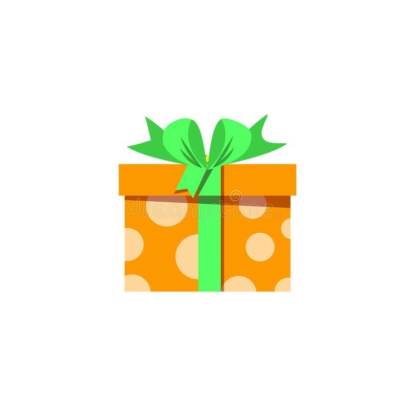 Contenitore di regalo arancio sveglio avvolto con il nastro festivo isolato su fondo bianco illustrazione di stock