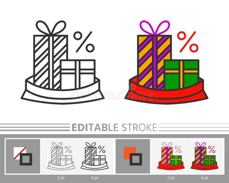 Contenitore di regalo attuale nella linea icona di vendita di natale della borsa di Santa illustrazione vettoriale