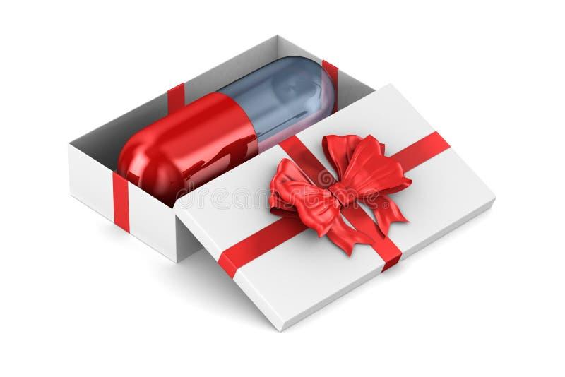 Contenitore di regalo bianco aperto con la capsula su fondo bianco Illustrazione isolata 3d royalty illustrazione gratis