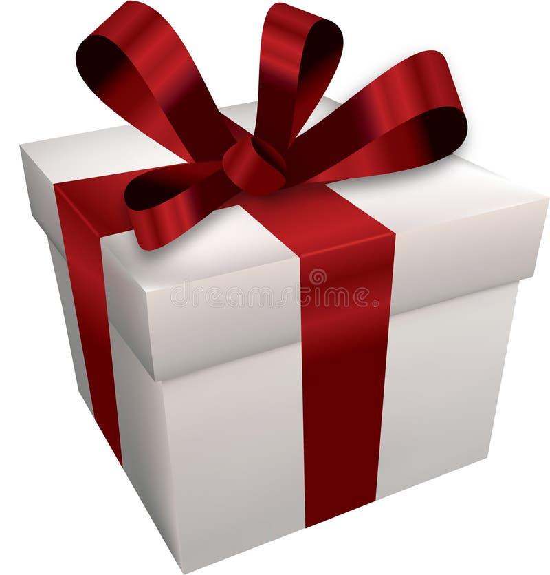 Contenitore di regalo bianco con il nastro rosso illustrazione di stock