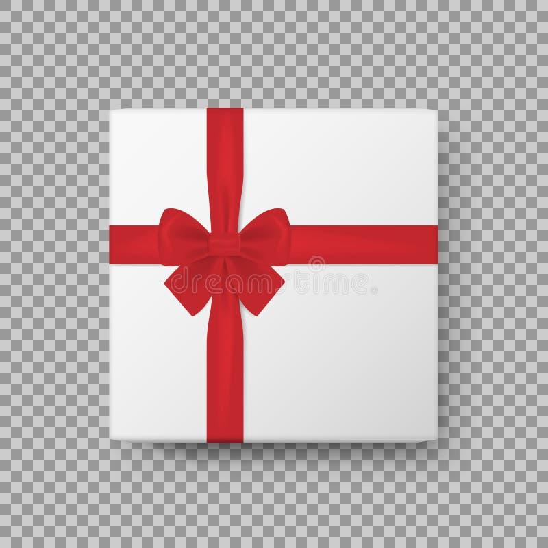 Contenitore di regalo bianco con l'arco rosso brillante del raso e la fine di vista superiore del nastro su isolato su fondo tras illustrazione vettoriale