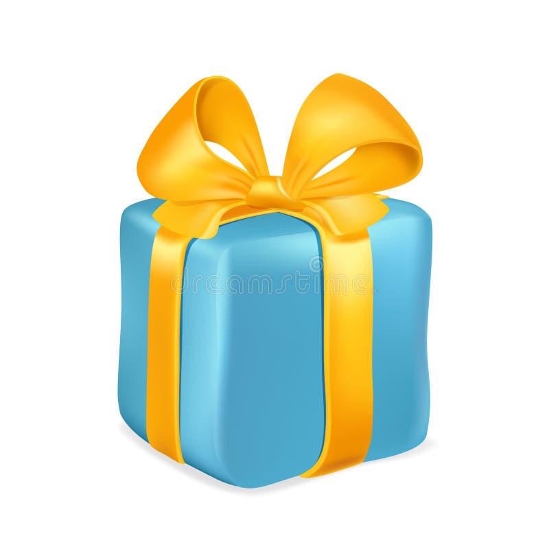 Contenitore di regalo blu con il nastro giallo ed arco isolato su fondo bianco Illustrazione di vettore illustrazione di stock