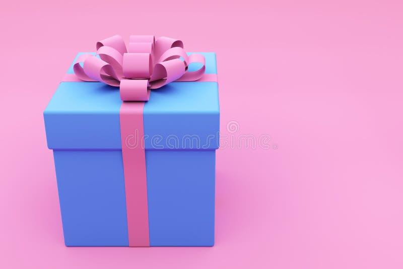 Contenitore di regalo blu dipinto su fondo rosa immagini stock