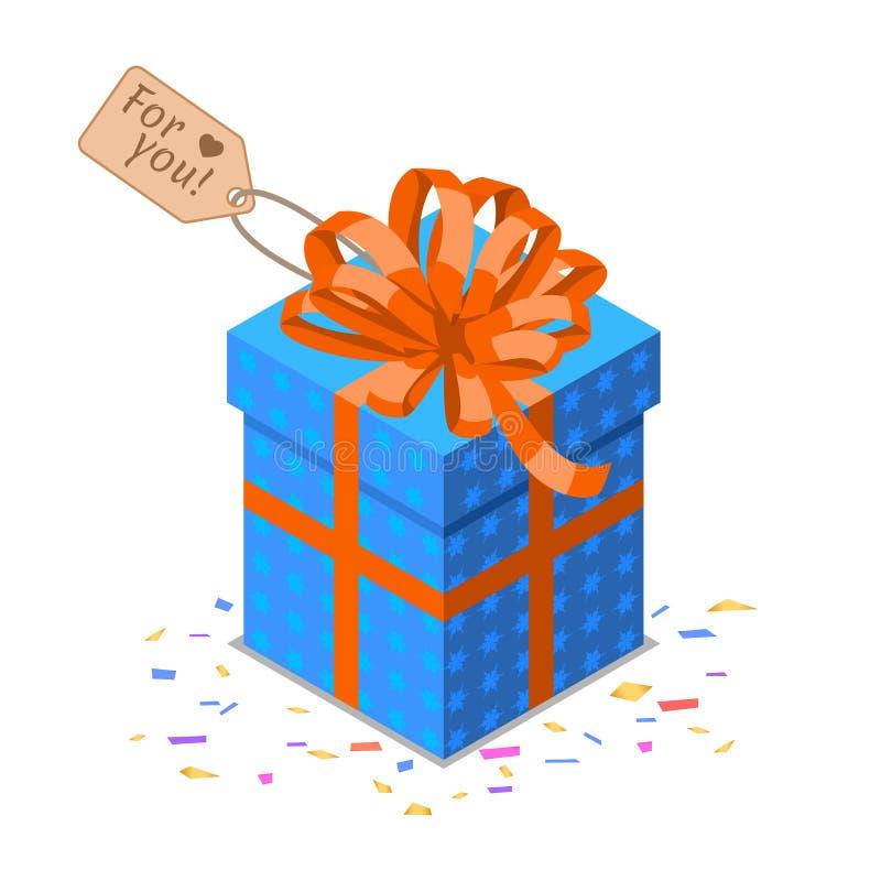 Contenitore di regalo blu isometrico con il grande arco rosso Oggetto di buon compleanno illustrazione di stock