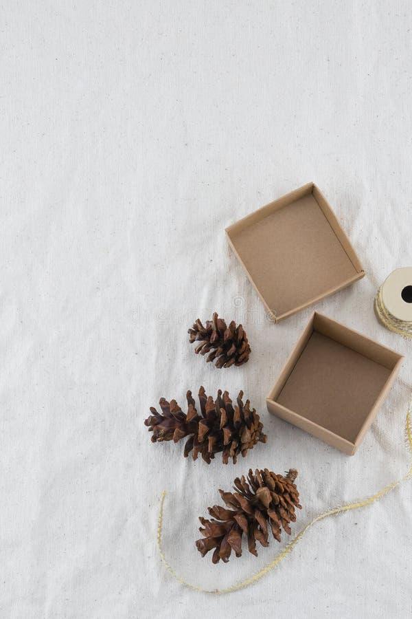 Contenitore di regalo di Brown decorato con i pinecones e la corda fotografia stock libera da diritti