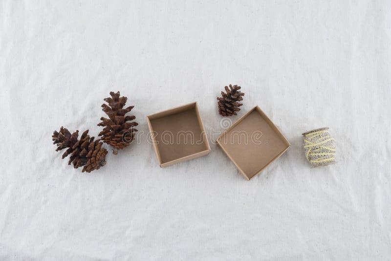 Contenitore di regalo di Brown decorato con i pinecones e la corda immagine stock