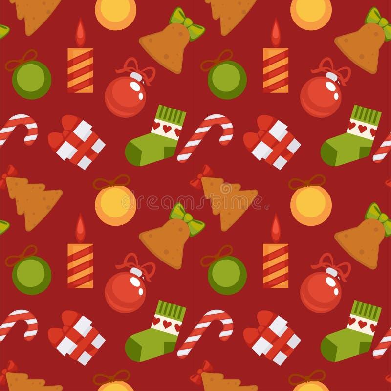 Contenitore di regalo, canna dolce e decorazioni di Natale nel modello senza cuciture illustrazione vettoriale