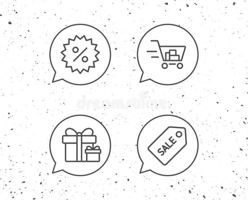 Contenitore di regalo, di carrello ed icone del buono di vendita illustrazione di stock