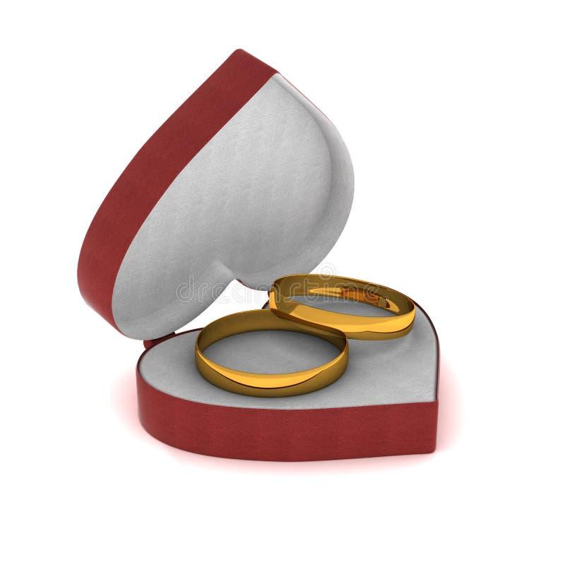 Contenitore di regalo con gli anelli di oro sotto forma di cuore. illustrazione di stock