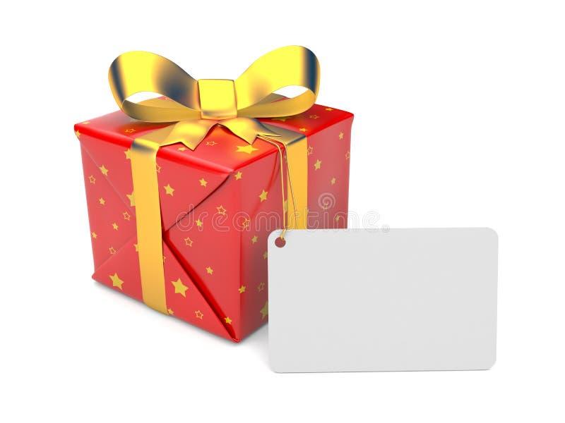 Contenitore di regalo con il contrassegno illustrazione vettoriale