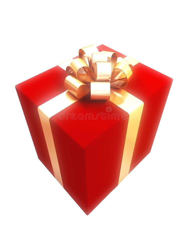 Contenitore di regalo con il nastro dell'oro illustrazione di stock