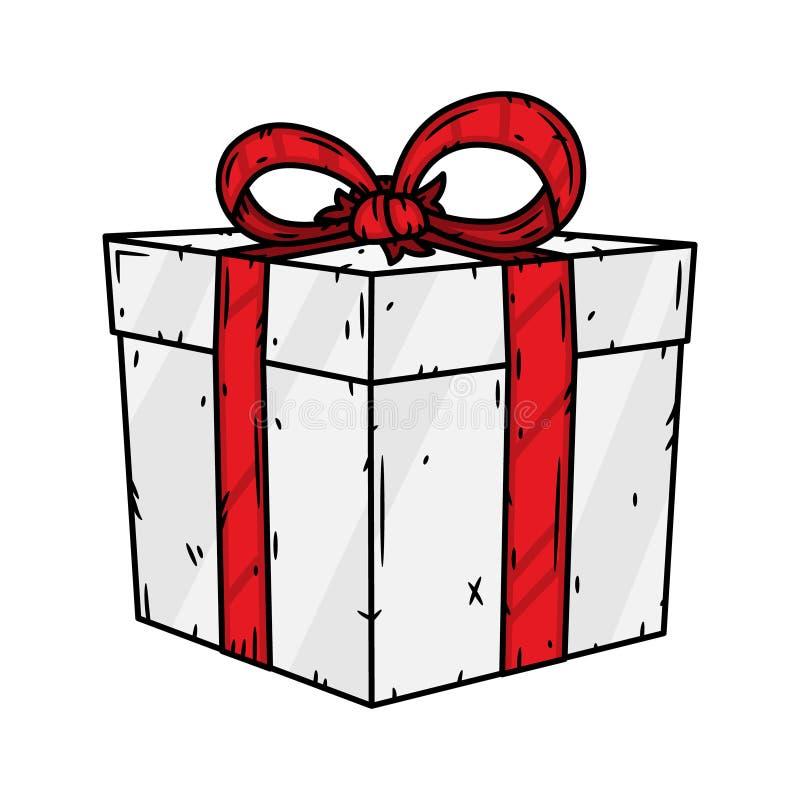Contenitore di regalo con il nastro rosso isolato su fondo bianco Illustrazione di vettore Casella attuale illustrazione vettoriale
