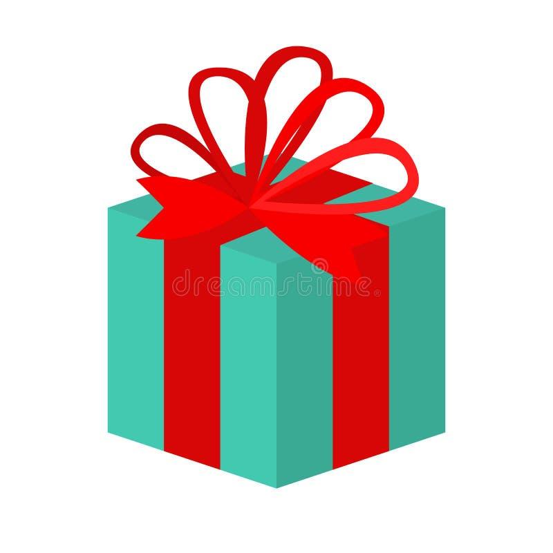 Contenitore di regalo con l'icona piana del nastro, segno di vettore royalty illustrazione gratis