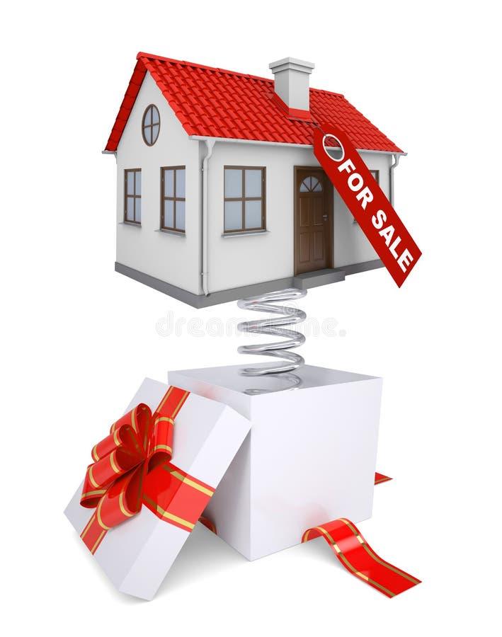 Contenitore di regalo con la banda rossa e casa da vendere royalty illustrazione gratis