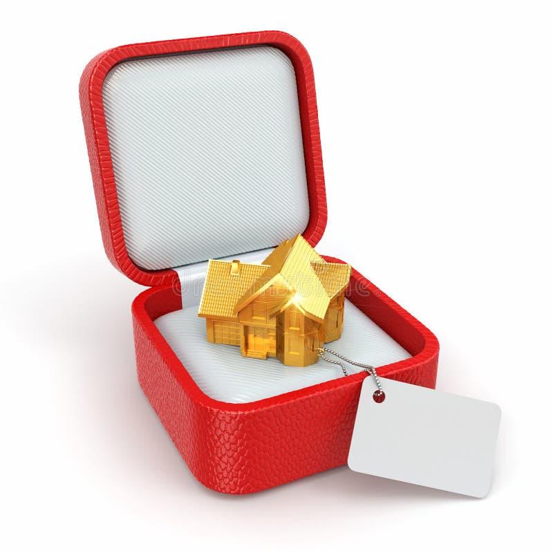 Contenitore di regalo con la casa. Concetto del bene immobile. illustrazione di stock