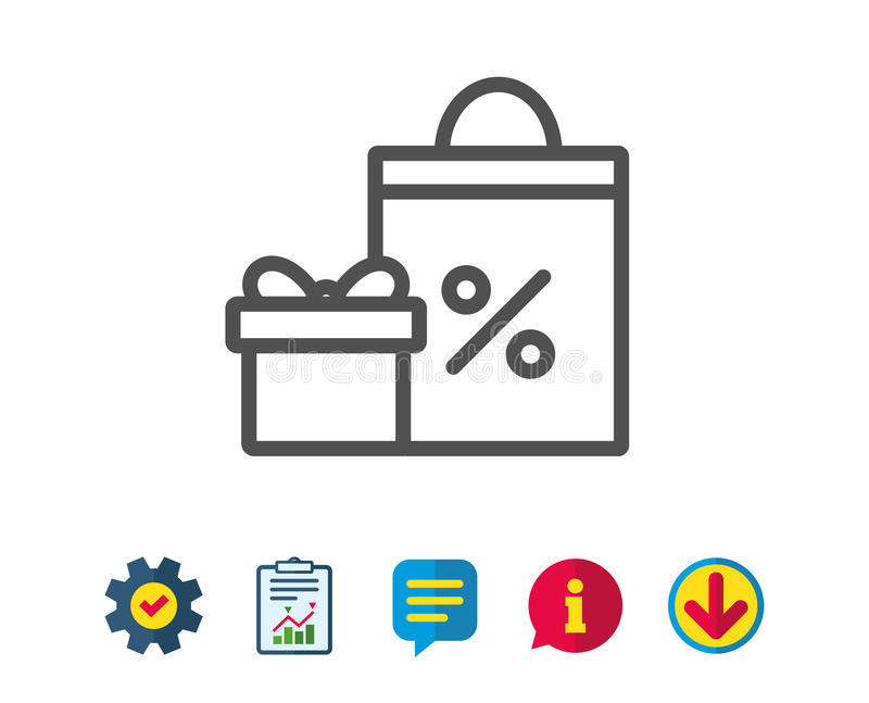 Contenitore di regalo con la linea icona del sacchetto della spesa Presente illustrazione di stock
